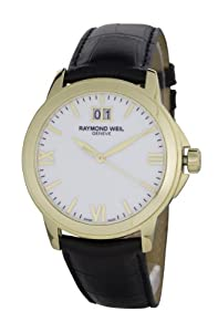 Raymond Weil Tradition Men's Quartz Watch with White Dial Analogue Display and Black Leather Strap 5476-P-00307