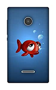 The Racoon Grip fish with frog eyes hard plastic printed back case / cover for Microsoft Lumia 435