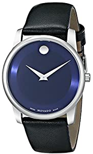 """Movado Men's 0606610 """"Museum"""" Stainless Steel Watch with Black Leather Band by Movado"""