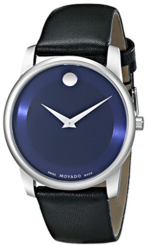 "Movado Men's 0606610 ""Museum"" Stainless Steel Watch with Black Leather Band image"