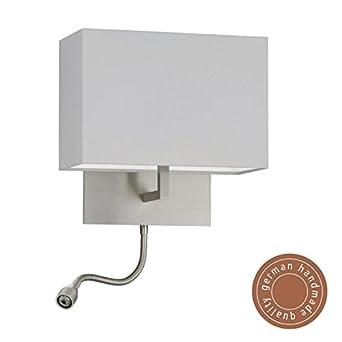 knapstein applique lampe murale halog ne en nickel mat avec liseuse flexible led. Black Bedroom Furniture Sets. Home Design Ideas