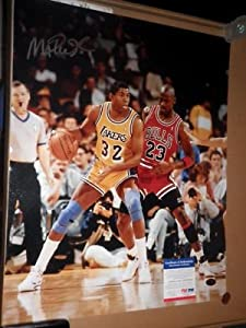 MAGIC JOHNSON Signed 16x20 Photo PSA DNA HOF Los Angeles Lakers Autograph by Signed+Photo