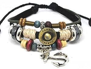 Adjustable Couple Cuff Bracelets Made of Leather Rope and Color Wooden Beads Anchor Bracelet Unisex Bracelet Cuff Bracelet