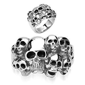 Emeco ® Edelstahl Ring Stainless Steel Biker Multi Totenkopf Cluster Skulls R7684-X, 61mm