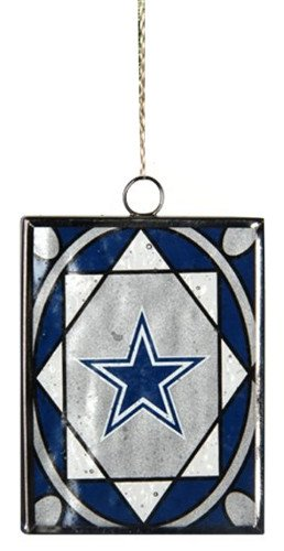 Dallas Cowboys Official NFL 2 inch x 3 inch Stained Glass Christmas Ornament