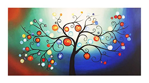 Mooil Art Colorful Dreamlike Bubble Tree Modern Decorative Art Work Hand Sketching Contemporary Abstract Oil Paintings Wall Art Ready to Hang for Home Docoration