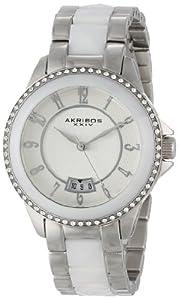 Akribos XXIV Women's AK654WT Impeccable Swarovski Crystal Accented Silver-Tone White Pyramid Stainless Steel Bracelet Watch