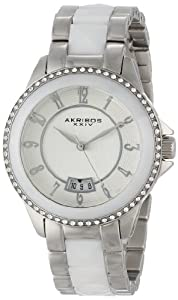 Akribos XXIV Womens AK654WT Impeccable Swarovski Crystal Accented Silver-Tone White Pyramid Stainless Steel Bracelet Watch