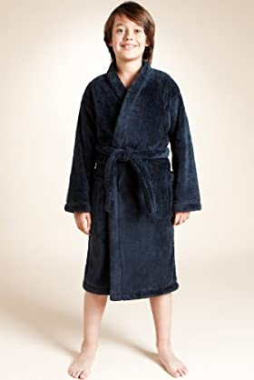 Older Boys' Waist Tie Fluffy Dressing Gown