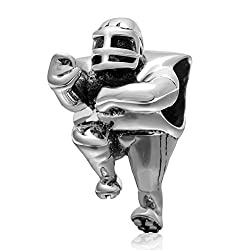 Football Player Sports Bead 925 Sterling Silver Bead Fits Pandora Charms