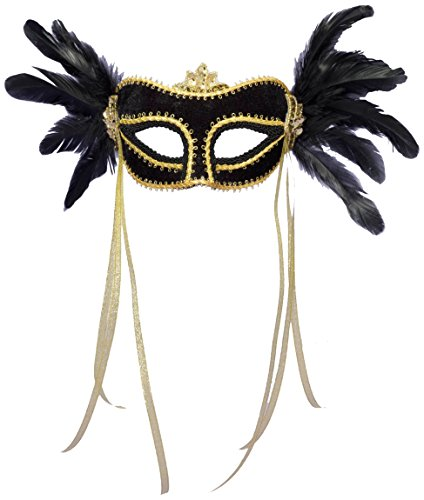 Forum Novelties Women's Venetian Style Feather Mask, Multi Colored, One Size - 1