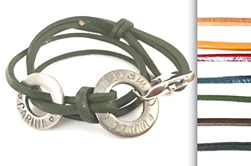 Armband Name Leder Karabiner 2 Ringe Edelstahl Wunschbeschriftung (Bracelet name leather lobster 2 rings stainless steal customize at your choice) (Edelstahl Ring compare prices)