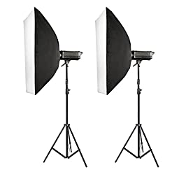 Neewer Set of Two(2) 600W Photography Monolight Softbox Kit, includes (2) 300W 110V Digital Studio Flash/Strobe Modeling Light, (2) 24x35\