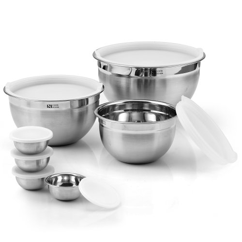 Cook N Home 14-Piece Stainless Steel Mixing Bowl Set, 4Set/Case front-986552