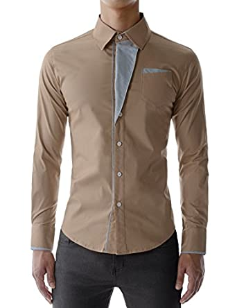 TheLees Mens Casual Long Sleeve Stripe Patched Fitted Dress Shirts BEIGE Chest 38 (Tag size M)