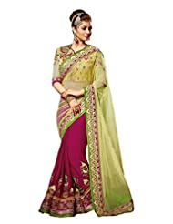 Designer Sensational Magenta Colored Embroidered Net Georgette Saree By Triveni