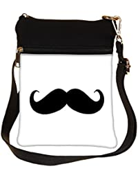 Snoogg I Mustache You White Cross Body Tote Bag / Shoulder Sling Carry Bag