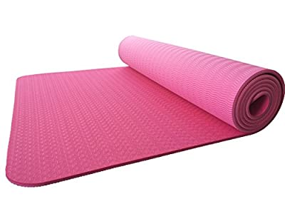 Gobuy Eco-friendly 2 Layers Lightweight Extra Thick Pilates &Yoga Exercise Mat with Carry Strap(4mm)