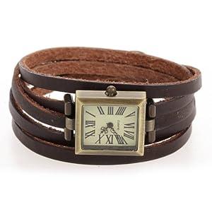 Reloj Rectangular Cuarzo Pulsera Cuero PU Marrón Números Romanos Unisex Retro por Bsupermart