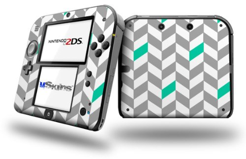 Chevrons Gray And Turquoise - Decal Style Vinyl Skin fits Nintendo 2DS - 2DS NOT INCLUDED