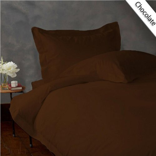 Full 300Tc Super Soft Sheet Set 100% Egyptian Cotton 18 Inches Deep Pocket ,Chocolate Solid front-1028690