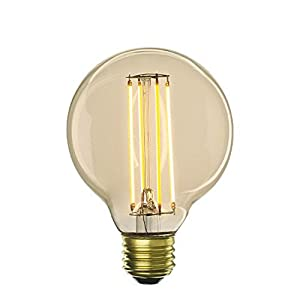 LED5G25/22K/FIL-NOS/2 5 Watt LED Filament Light Bulb, Antique Finish, G25 Globe Shape, E26 Medium Base, For Decorative Lighting, Energy Saver, Warm White 2200K, Fully Dimmable