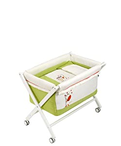 Naf-Naf Mini-Cot with Crib-style Stand and Textiles (Jungle, Pistachio)