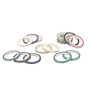 48 Rolls Washi Tape Set,Foil Gold Skinny Decorative Masking Washi Tapes,3MM Wide DIY Masking Tape