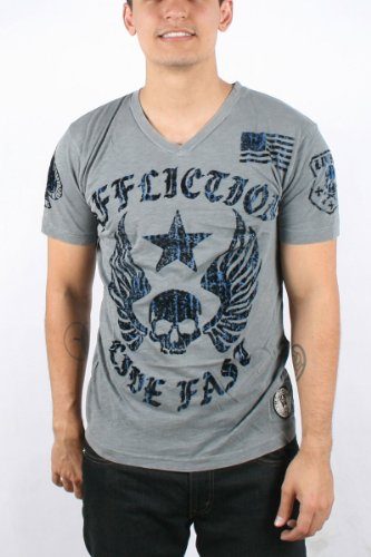 Affliction - Mens Live Fast Slub V-Neck T-Shirt In Silver Lava Wash, Size: X-Large, Color: Silver Lava Wash