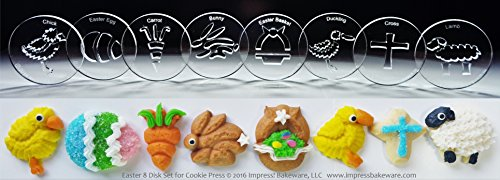 Easter 8 Disk Set for Cookie Presses (SIZE M disks for presses that came with METAL disks)