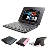 "GreatShield LEAN Series Ultra Slim Leather Case with Keyboard and Stand for Amazon Kindle Fire HD 7"" Inch Tablet (1st Generation, 2012) - Black / Pink"