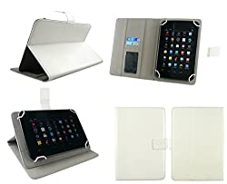 Emartbuy® Iberry Auxus AX02 Tablet 7 Inch Universal Range White Multi Angle Executive Folio Wallet Case Cover With Card Slots + White Stylus