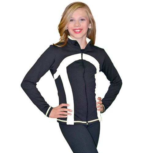 ChloeNoel Black White Thick Stripe Ice Skating Jacket Girl 4-Adult XL