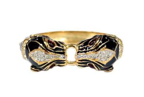 Black Onyx Double Panther Bracelet with Ruby Gemstone Eyes - Fashion Bracelet