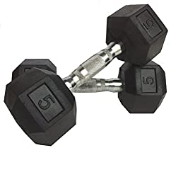 GB Imported Hex Dumbbells 5 Kg x 2 PCs (Total 10 Kg Rubber Coated Dumbbells)