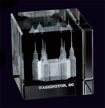Washington DC Temple Crystal Cube