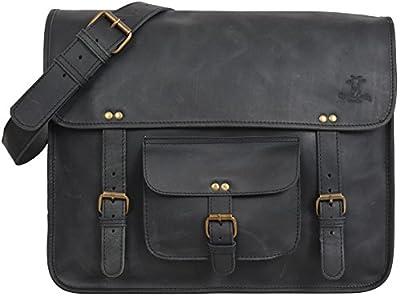 """Gusti Cuir studio """"Morris"""" sac notebook 17"""" sac à bandoulière sac porté épaule malette serviette porte-documents sac en cuir véritable sacoche université travail unisexe 2U23-17-3"""