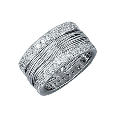 Ladies Sterling Silver Clear Cubic Zirconia Luxury Cable Band Ring
