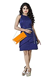 Sadhana Impex American Crepe Dress,Blue(m)