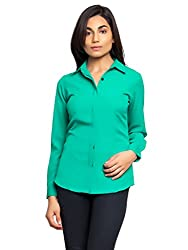 Femninora Women's Polyester Formal Shirt (Fem-Tp-012_L_Large_Aruba Green)