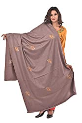 Weavers Villa - Womens Kashmiri Booti Work Grey Woolen Shawls , Stoles