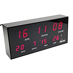 Large Wide Contemporary Design Alloy & Glass Digital Red LED Alarm Clock Jumbo Display 24-Hour Display Time Calendar Date Month Year & Thermometer/Temperature °C AC Power Adapter Included