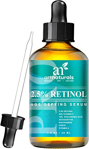 Art Naturals Enhanced Retinol Serum 2.5% with 20% Vitamin C & Hyaluronic Acid 1 oz- -Best Anti Wrinkle, Anti Aging Serum for Face & Sensitive Skin -Clinical Strength Organic Ingredients -Night Therapy