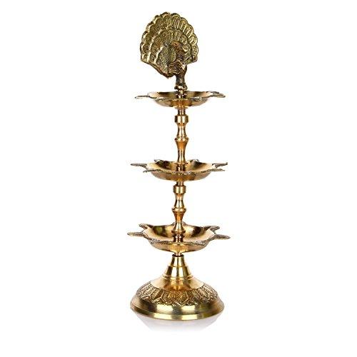 Hashcart Handmade Indian Brass PanchMahal Diya Lamp Engraved 3 in 1 Adjustable Dia