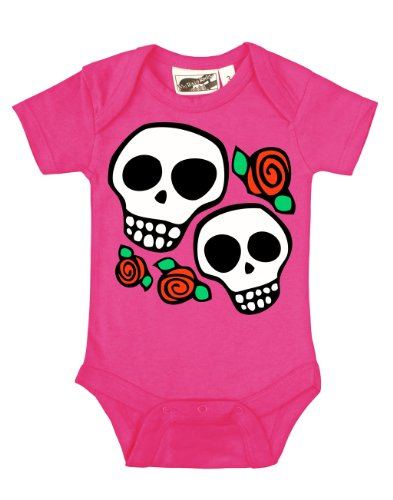Skull & Roses Hot Pink One Piece 3-6 Months front-1032837