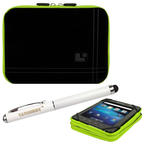 8 Inch Tablet Case Toxic Green Neoprene Bubble Padded Zippered Sleeve (Fits the Barnes and Noble Nook Color, Simple Touch, Tablet, and Touch) + 3 In 1 Stylus/Laser Pointer/LED Flashlight