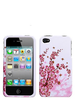 Crystal Hard Faceplate Cover Case With Purple and White Flower Design for Apple Iphone 4G 4