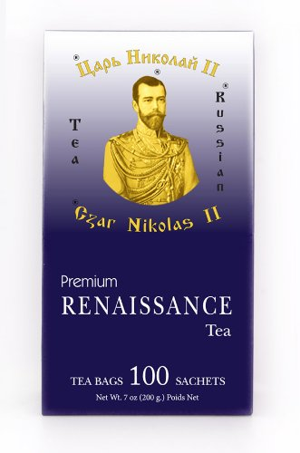 "Black Pure Ceylon Tea With Safflower, Marigolds, Blue Mallow Blossoms ""Renaissance. Czar Nikolas Ii"" 100 Pack"