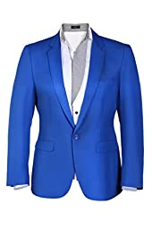 Coofandy Men Casual One Button Solid Slim Fit Blazer Stylish Suit (Small, Blue(FBA))
