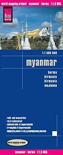 Myanmar ( Birmania), mapa impermeable de carreteras. Escala 1:1.500.000 impermeable. Reise Know-How.